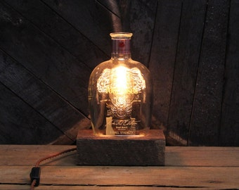 Four Roses Bourbon Bottle Lamp, Limited edition bottle Reclaimed Wood Base, Edison Bulb, Twisted Cloth Wire, In line Switch, & Plug