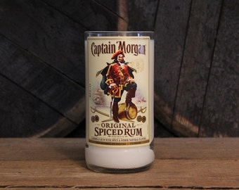 Captain Morgan Rum Candle, Captain Morgan Gift, Gift for Guys, Rum Bottle Candle, Upcycled Candles, Rum Drinker Gift, Father's Day Gift