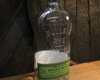 Empty Bulleit Rye Whiskey Bottle Recycled Glass Bottle Recycled Candle Jar Whiskey Candle Empty Glass Bottle Vase Lamp Craft Supplies