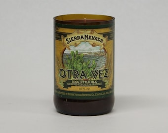 Upcycled Craft Beer Bottle Candle - Recycled Sierra Nevada Otra Vez Beer Candle 10 oz. Handmade Soy Wax Candle Unique Beer Candle Microbrew