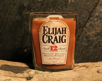Elijah Craig Bourbon Whiskey Candle, Gift For Boyfriend, Father's Day Gift, Gift For Him, Man Candle, Wood Wick