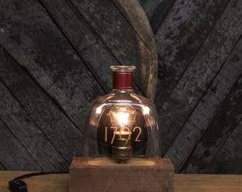 Handmade Recycled 1792 Bourbon Bottle Lamp - Features Reclaimed Wood Base, Edison Bulb, Twisted Cloth Wire, Fathers Day Gifts