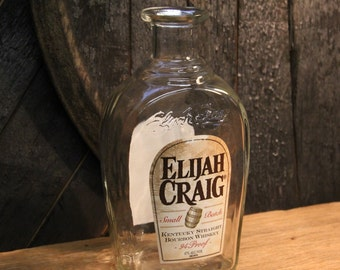 Empty Elijah Craig Bourbon Whiskey Bottle  Recycled Glass Bottle Recycled Candle Jar Whiskey Candle Empty Glass Bottle Vase Craft Supplies
