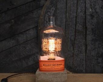 Bulleit Bourbon Bottle Lamp / Whiskey Bottle Light / Bourbon Light / Reclaimed Wood Base, Edison Bulb,  Bourbon Gifts, Father's Day Gift