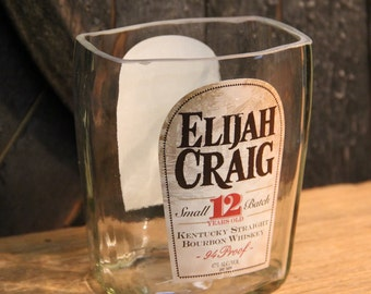 Empty Elijah Craig Bourbon Whiskey Bottle Cut and Sanded Bottle Recycled Candle Jar Whiskey Candle Glass Container Vase Lamp Craft Supplies