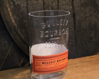 Empty Bulleit Bourbon Whiskey Bottle Cut and Sanded Bottle Recycled Candle Jar Whiskey Candle Glass Container Vase Lamp Craft Supplies