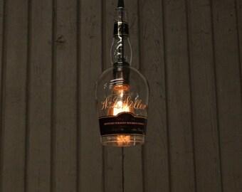 W.L. Weller Bottle Pendant Light - Upcycled Industrial Glass Ceiling Light - Handmade Bourbon Bottle Light Fixture, Father's Day Gift
