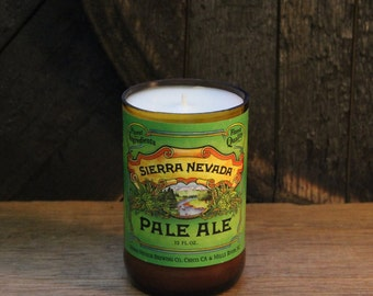 Craft Beer Bottle Candle - Sierra Nevada Pale Ale Beer Candle, Handmade Soy Wax Candle Unique Beer Candle Microbrew, Father's Day Gift