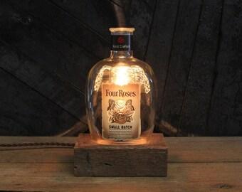 Four Roses Bourbon Bottle Light / Whiskey Bottle Lamp, Gift For Guys, Bourbon Gift, Gift For Boss, Gift For Men, Guy Gift,  Man Cave Gift