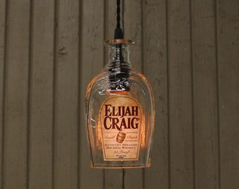 Elijah Craig Bottle Pendant Light - Upcycled Industrial Glass Ceiling Light - Handmade Bourbon Bottle Light Fixture, Father's Day Gift