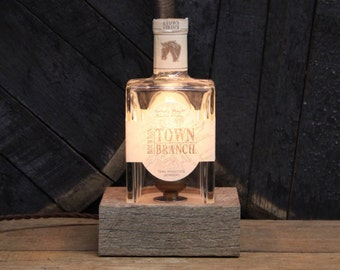 Handmade Recycled Town Branch Bourbon Bottle Lamp - Features Reclaimed Wood Base, Edison Bulb, Twisted Cloth Wire, Father's Day Gift
