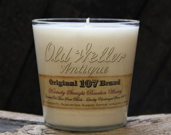 Old Weller Antique Whiskey Candle / Recycled Bourbon Bottle Candle Handmade Soy Candle / Bourbon Gifts, Man Candle, Father's Day Gift
