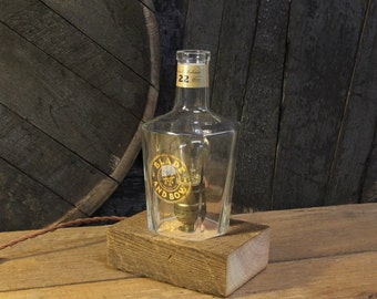 Handmade Recycled Blade And Bow Bourbon Bottle Lamp-Features Reclaimed Wood Base, Edison Bulb, Twisted Cloth Wire, Father's Day Gift