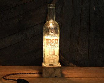 Handmade Recycled High West Campfire Bourbon Bottle Lamp, Reclaimed Wood Base, Edison Bulb, Twisted Cloth Wire, Father's Day Gift