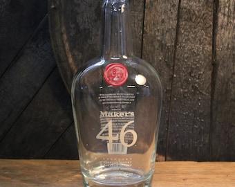 Empty Maker's 46 Bourbon Whiskey Bottle Recycled Glass Bottle Recycled Candle Jar Whiskey Candle Empty Glass Bottle Vase Craft Supplies