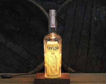 Colonel E.H. Taylor Single Barrel - Features Reclaimed Wood Base, Edison Bulb, Twisted Cloth Wire, Upcycled Light Gift, Fathers Day Gifts