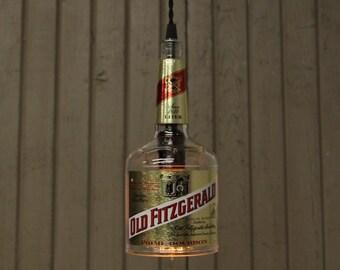 Old Fitzgerald Bottle Pendant Light - Upcycled Industrial Glass Ceiling Light - Handmade Bourbon Bottle Light Fixture, Recycled Lighting