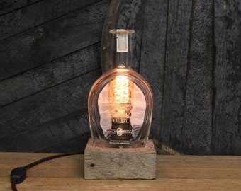Handmade Recycled John J Bowman Bourbon Bottle Lamp, Features Reclaimed Wood Base, Edison Bulb, Twisted Cloth Wire, In line Switch, And Plug
