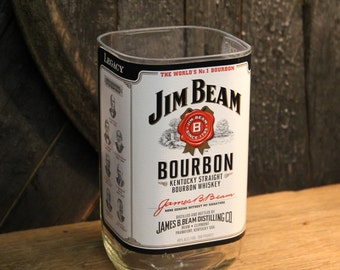 Empty Jim Beam Bourbon Whiskey Bottle Cut and Sanded Bottle Recycled Candle Jar Whiskey Candle Glass Container Vase Lamp Craft Supplies