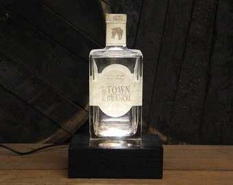 Town Branch Bourbon Bottle LED Light / Reclaimed Wood Base & LED Desk Lamp / Handmade Tabletop Lamp / Upcycled Bourbon Bottle Lighting
