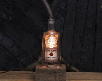 Handmade Recycled Four Roses Bourbon Bottle Lamp - Features Reclaimed Wood Base, Edison Bulb, Twisted Cloth Wire, In line Switch, And Plug