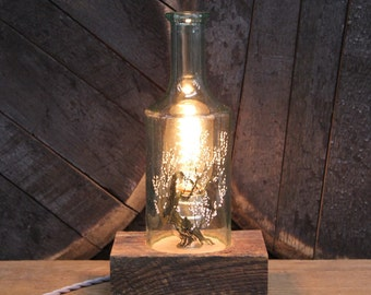 Handmade Recycled Antique Old Fitzgerald Whiskey Bottle Desk Lamp, Features Reclaimed Wood Base, Twisted Cloth Wire, Father's Day Gift