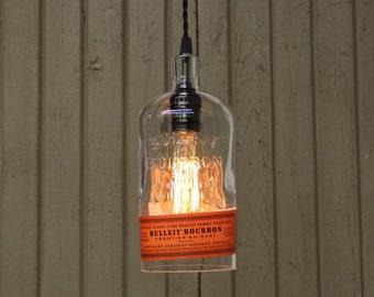 Bulleit Bourbon Whiskey Bottle Pendant Light - Upcycled Industrial Glass Ceiling Light - Handmade Bourbon Bottle Light Fixture, Bar Lighting