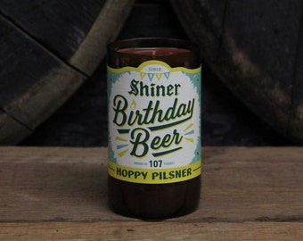 Upcycled Craft Beer Bottle Candle - Recycled Shiner Birthday Beer Bottle Candle 10 oz. Handmade Soy Wax Candle Unique Beer Candle Microbrew