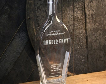 Empty Angels Envy Bourbon Whiskey Bottle Recycled Glass Bottle Recycled Candle Jar Whiskey Candle Empty Glass Bottle Vase Craft Supplies