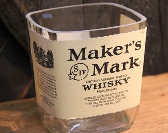 Empty Maker's Mark Bourbon Whiskey Bottle Cut and Sanded Bottle Recycled Candle Jar Whiskey Candle Glass Container Vase Lamp Craft Supplies