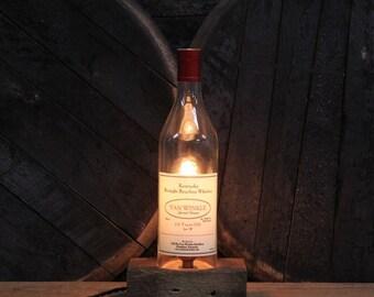 Pappy Van Winkle 12 Year Bourbon Bottle Lamp / Whiskey Bottle Light / Man Cave Decor / Bar Lamp Reclaimed Wood Base Bourbon Gift Whisky