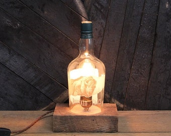 Buffalo Trace Bourbon Bottle Lamp / Whiskey Light / Bourbon Light / Whiskey Lover Gift, Bourbon Gift, Man Cave Lighting, Father's Day Gift