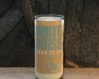 Upcycled Wine Candle - White Noise Recycled Wine Bottle 22 oz. Soy Candle Handmade Local KY WInery Old 502 Bottle