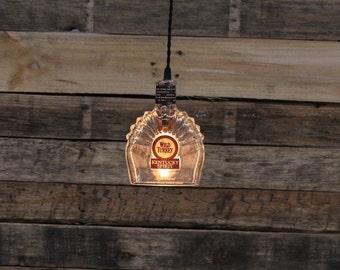 Wild Turkey Kentucky Spirit Bottle Pendant Light - Upcycled Industrial Glass Ceiling Light / Bourbon Bottle Light Fixture Bar Lighting