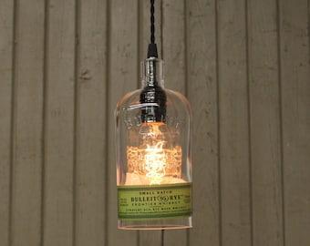 Bulleit Rye Bottle Pendant Light - Upcycled Industrial Glass Ceiling Light - Handmade Whiskey Bottle Light Fixture / Hanging Bar Light
