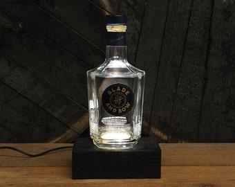 Blade And Bow Bourbon Bottle LED Light / Reclaimed Wood Base & LED Desk Lamp / Handmade Tabletop Lamp / Upcycled Bourbon Bottle Lighting