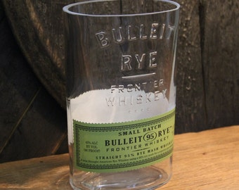 Empty Bulleit Rye Whiskey Bottle Cut and Sanded Bottle Recycled Candle Jar Whiskey Candle Glass Container Vase Lamp Craft Supplies