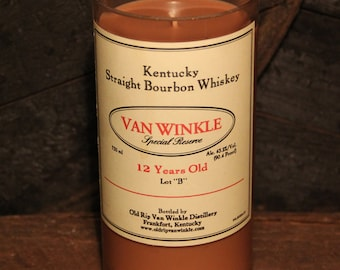 Pappy Van Winkle Bourbon Candle / Recycled Whiskey Bottle Candle / Bourbon Gift, Handmade Soy Candle Whiskey Gift,, Fathers Day Gifts