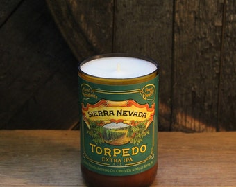 Upcycled Craft Beer Bottle Candle - Recycled Sierra Nevada Torpedo IPA Candle 10 oz. Handmade Soy Wax Candle Unique Beer Candle Microbrew