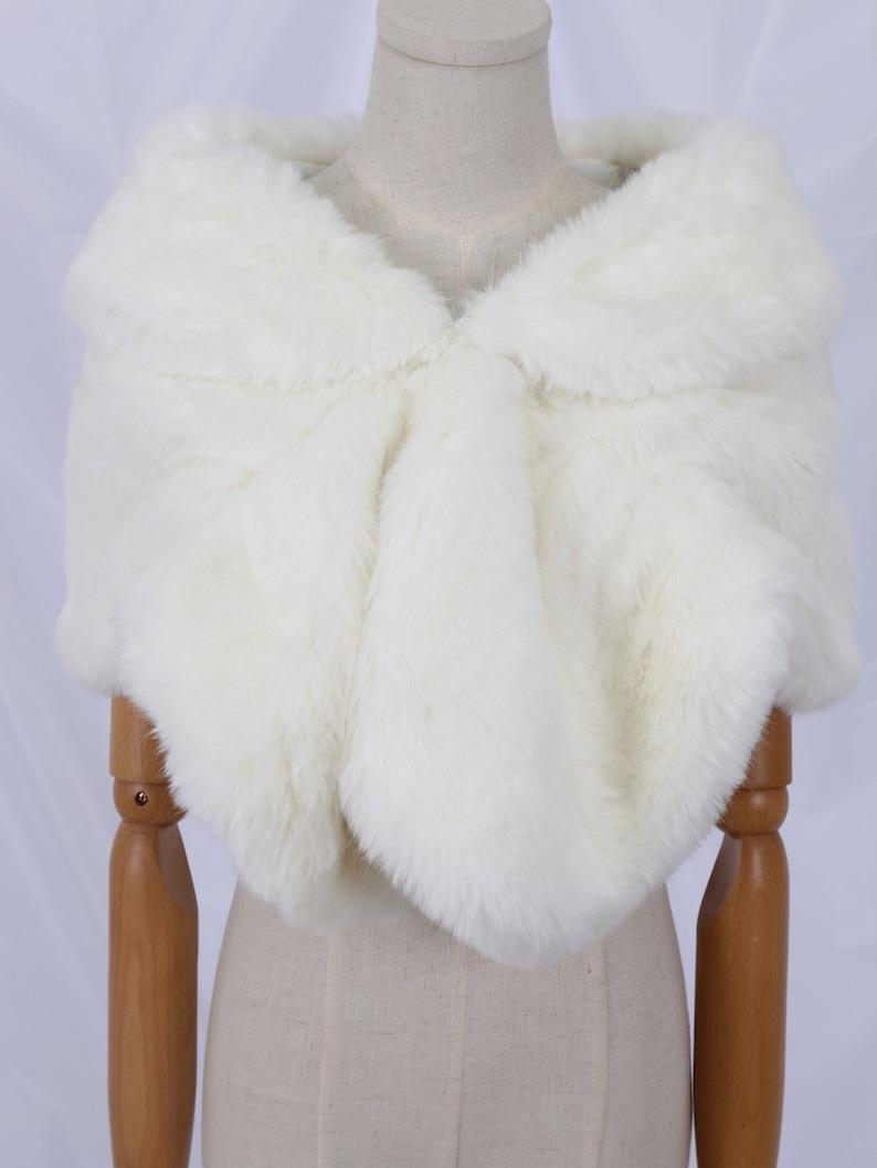 Sale Faux Fur Wrap Wedding IvoryWhite