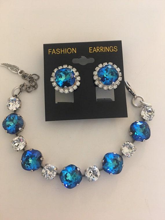 Bermuda blue Swarovski Crystals Bracelet and Earrings | Etsy