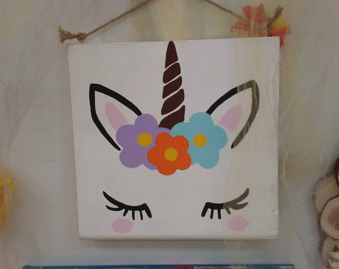Featured listing image: Magical Unicorn Painted Wood Sign