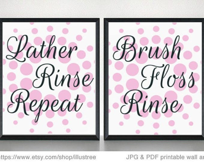 Featured listing image: Bathroom wall art print set with pink background design. Wedding gift, Anniversary gift, Valentine's Day gift, Gift, wall decor, home decor