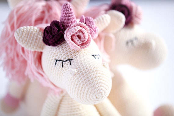 Stuffed Unicorn Toy, Crochet Unicorn, Sleepy Unicorn, Unicorn Lover Gift, Sleepy Unicorn Amigurumi