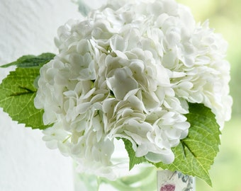 FiveSeasonStuff Real Touch Petals and Leaves Artificial Hydrangea Flowers Long Stem Floral Arrangement   2 Stems (White)