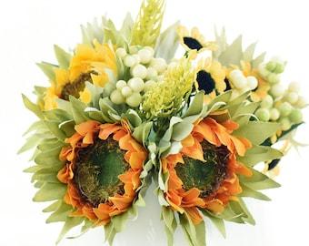 11.4 inches 6 Stems of Artificial Silk Sunflowers /& Bouquet FiveSeasonStuff 29cm DIY Floral Arrangement Decoration