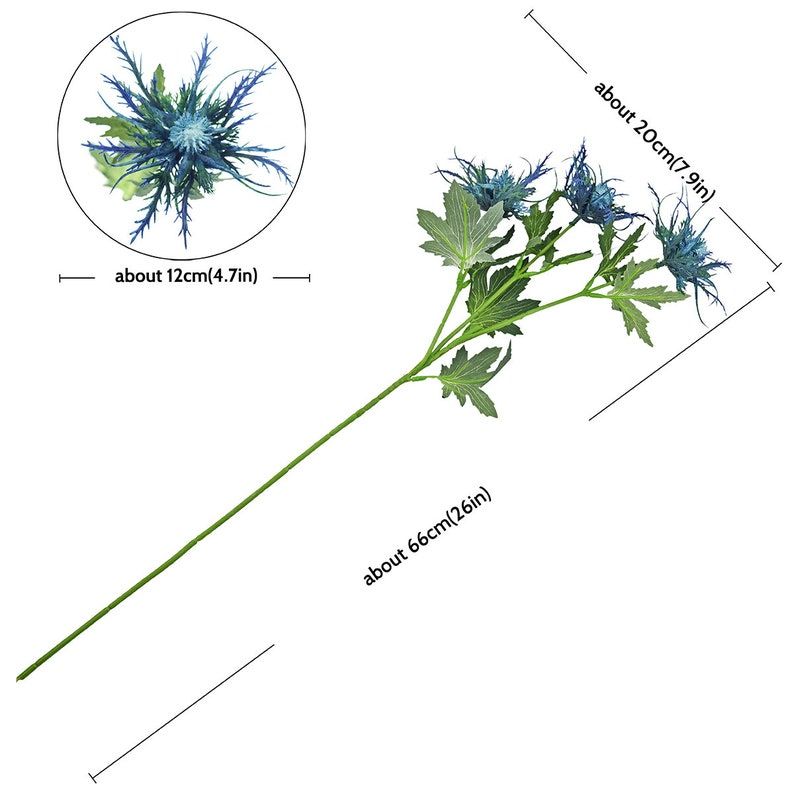 Sea Holly Big Blue 66cm FiveSeasonStuff 8 Stems Real Size Artificial Thistle Spray Real Touch Eryngium