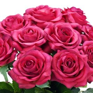 Deep Pink Real Touch Silk Artificial Flowers \u2018Petals Feel and Look like Fresh Roses/' Wedding Bridal Home FiveSeasonStuff 10 Stems