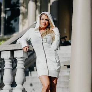 Jewel Hoodie Dress Flower of Life Zipper Pull Playa Attire Burning Man Sacred Geometry Yoga Zen Warm Coat Winter Sweater Gray Quilted