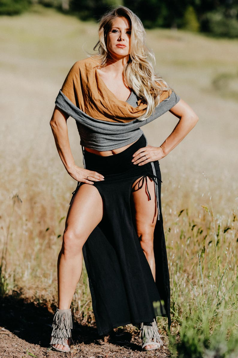 b38d39db6da Infinity Hood Top Gray   Tan Gypsy Attire Burning Man Sexy